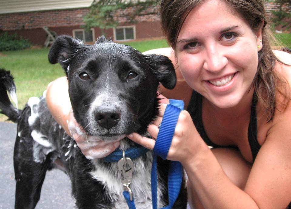 Woman with her arms around black and white dog covered in soap suds.